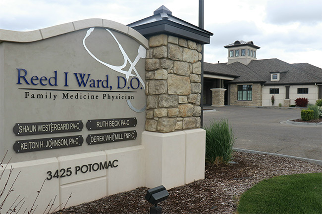 Office Sign for Reed Ward Family Medicine Physcians on 3425 potomac in Idaho Falls.